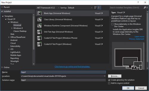 Tạo mới project Universal Windows Platform