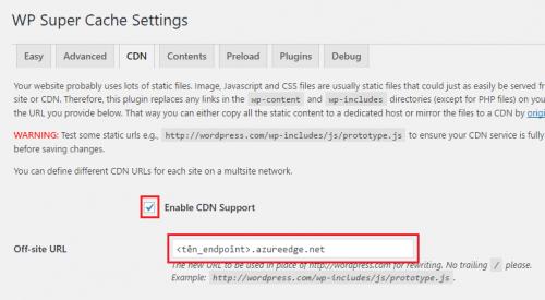 Azure CDN - WP Super Cache - Config