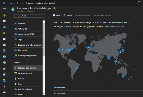 Azure Cosmos DB Globally Data Replicate