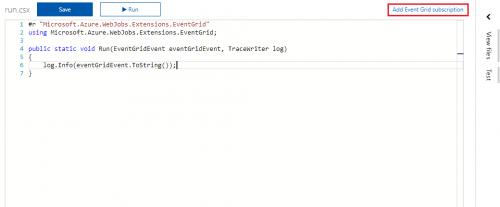 Azure Functions - EventGridTrigger - Code Editor