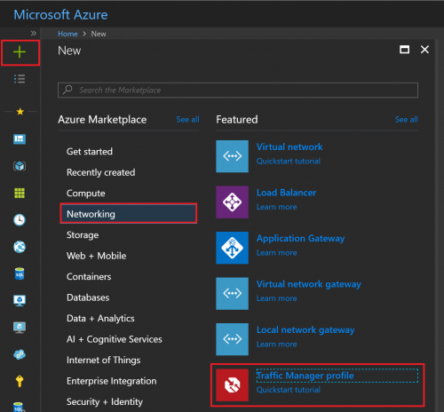 Azure Traffic Manager Add New