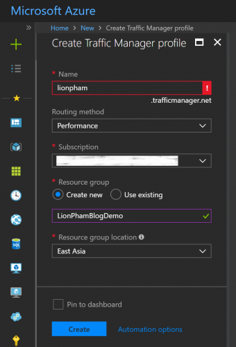 Azure Traffic Manager Add New Configuration