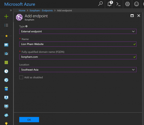 Azure Traffic Manager Add New Endpoint