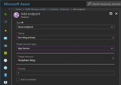 Azure Traffic Manager Priority